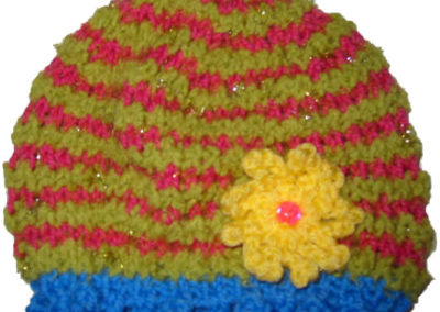 BABY HAT PINK GREEN BLUE