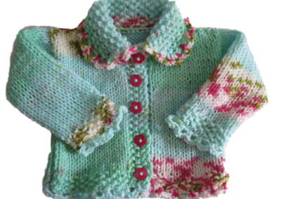 BABY SWEATER TEAL FLOWERS