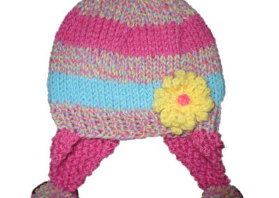 KNIT HAT PINK BLUE